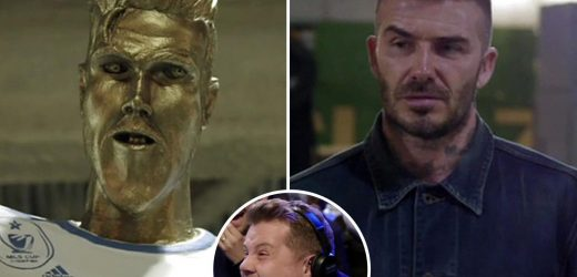 James Corden David Beckham statue prank: Watch England legend react to horrendous Ronaldo style LA Galaxy statue