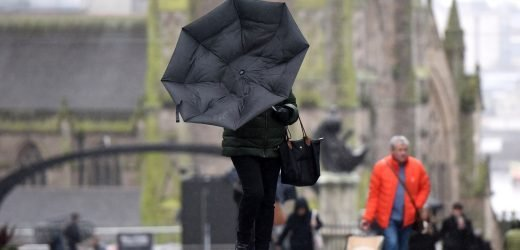 Shoppers battle 60mph gales and heavy downpours as Britain braces for big freeze