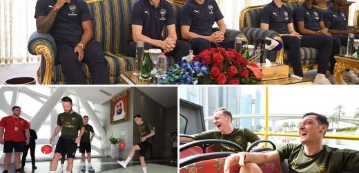 Arsenal stars go on amazing open-top bus tour of Dubai as they take break from warm-weather training camp