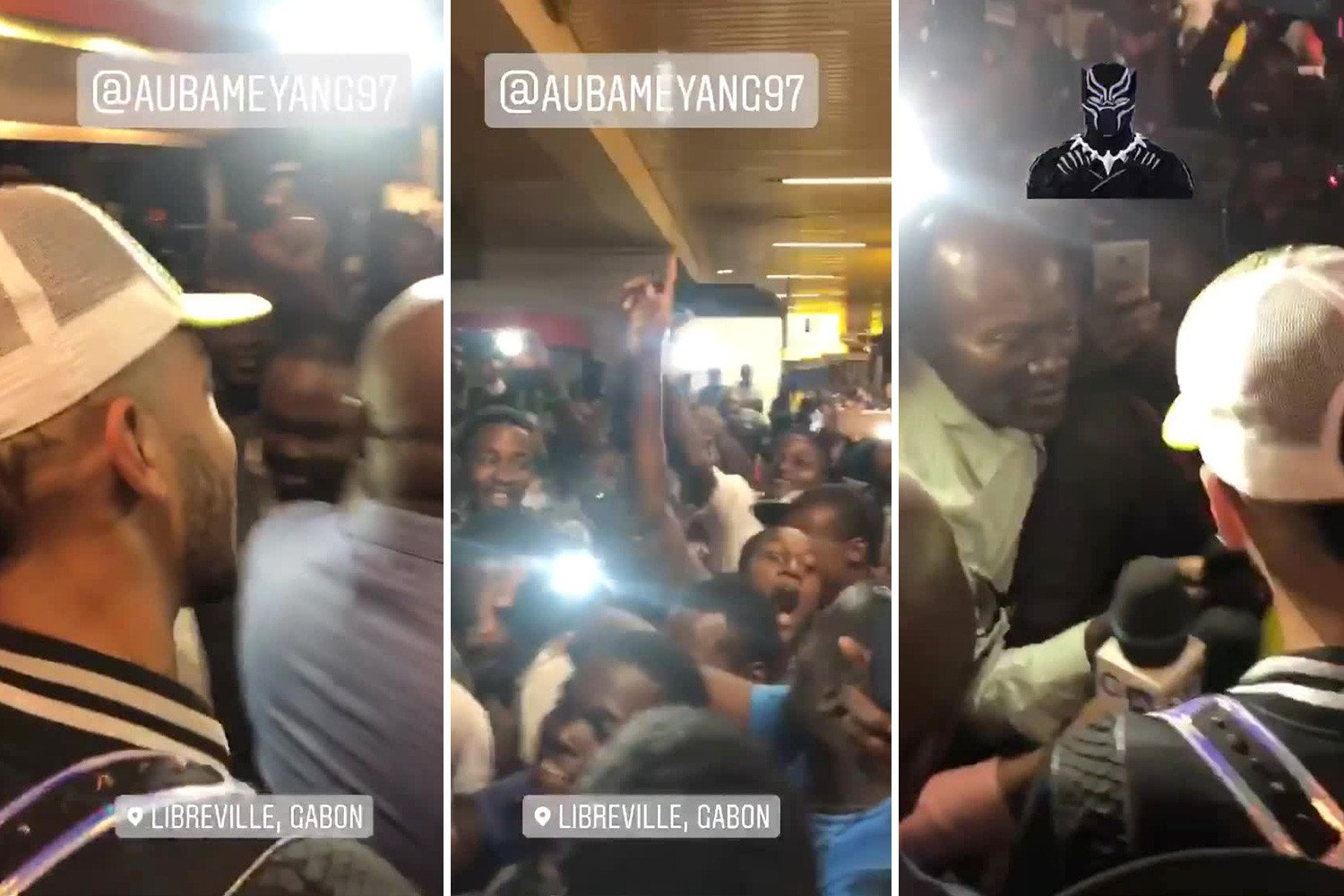 Aubameyang mobbed by huge crowd at airport as Arsenal star flies out for international duty with Gabon amid retirement talk