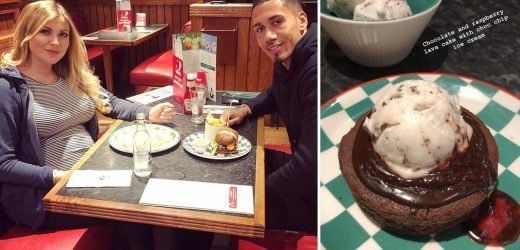 Vegan lovers Smalling and model wife Sam enjoy dinner date at Frankie & Benny's after Man Utd star snubbed by England