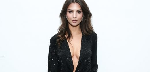Emily Ratajkowski Flaunts Major Cleavage While Braless In A Blazer & Trousers In NYC — Pics