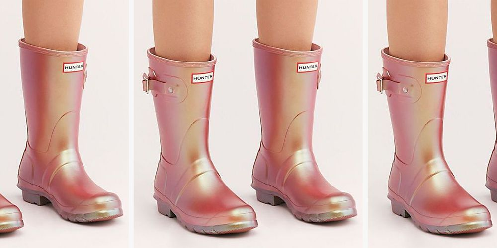 Hunter's New Pink Metallic Rain Boots Will Have You Shining Through The Rain