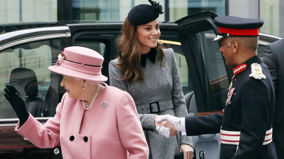 Queen Elizabeth and Duchess Kate step out together for opening of King's College London's new building