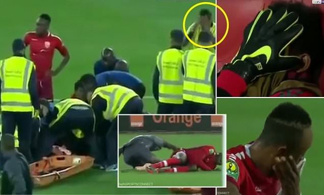 Ref and players distraught after keeper suffers awful double leg break