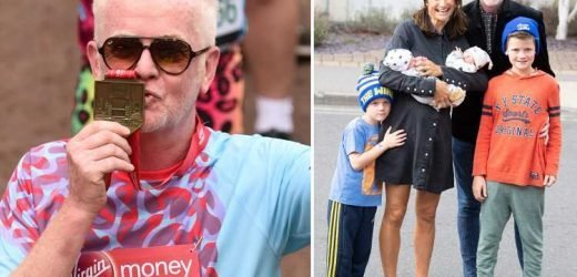Chris Evans to give his marathon medal to wife Natasha after she carted four young children around the tube to watch him in three different places