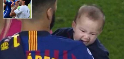 Luis Suarez's son BITES dad on shoulder and imitates famous World Cup incident with Chiellini