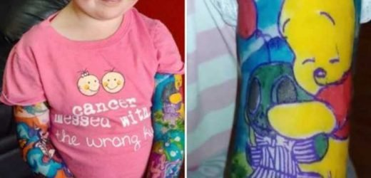 Girl, three, who is battling cancer gets Disney 'tattoo' sleeves done on both arms