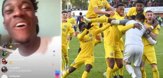 Crocked Callum Hudson-Odoi goes wild as he watches Chelsea Under 19s reach Youth League final on laptop in bed