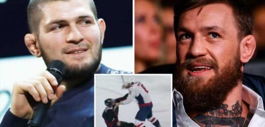 McGregor takes fresh swipe at Khabib as he congratulates a 'proper Russian' for delivering knockout blow during hockey match