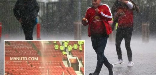 Huge waterfall crashes from roof at Old Trafford and tunnel flooded as thunderstorm hits Manchester derby