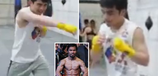 Manny Pacquiao trains son Jimuel, 18, how to box despite sobbing wife's desperate pleas to keep child away from the ring