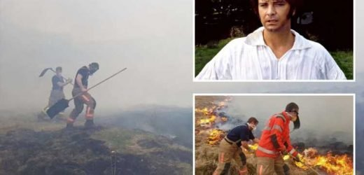 Firefighters tackle massive wildfire at stately home where Colin Firth stripped off as Mr Darcy in Pride and Prejudice