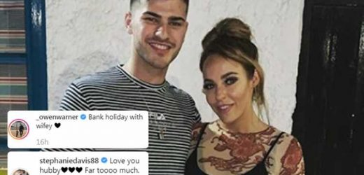 Stephanie Davis and Owen Warner call each other husband and wife as they continue to spark engagement rumours