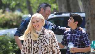 Gwen Stefani Stuns In Leopard Coat & Fishnet Tights For Easter Service With Blake Shelton