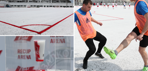 The amazing red and white pitch made from recycled beer cups from 2018 World Cup in Russia