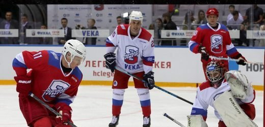 Vladimir Putin Scores 8 Goals in Russian Hockey Game Against Terrified Opponents