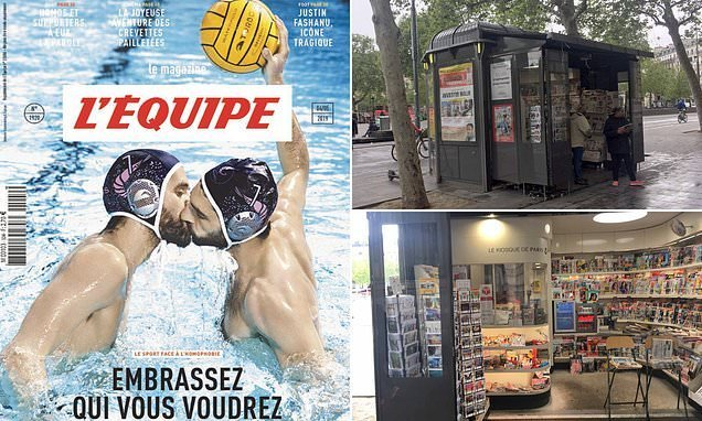 Kiosk sparks outrage for not selling magazine with sportsmen kissing