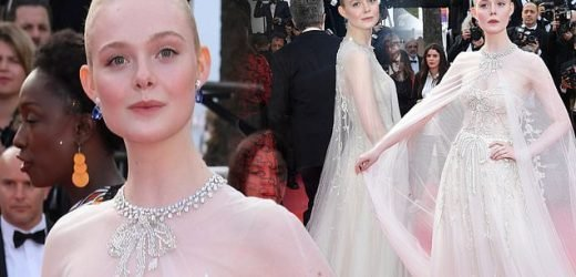 Elle Fanning looks ethereal in bejewelled gown at Cannes