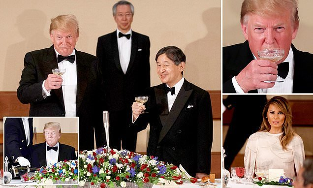 Donald and Melania Trump join Japanese emperor at six-course banquet