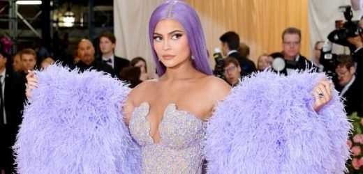 Kylie Jenner's Met Gala Versace Dress Is a Sparkly, Feathery, Lavender Vision