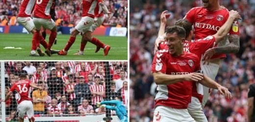 Patrick Bauer scores stoppage time winner to secure Charlton's promotion to the Championship