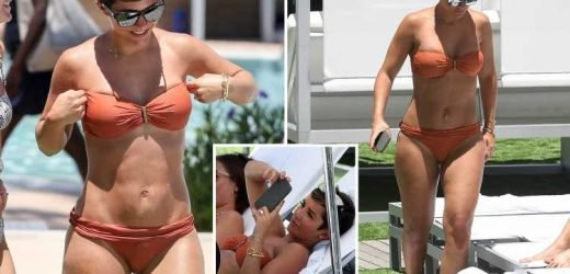 Frankie Bridge soaks up the sun in an orange bikini on Miami holiday with husband Wayne