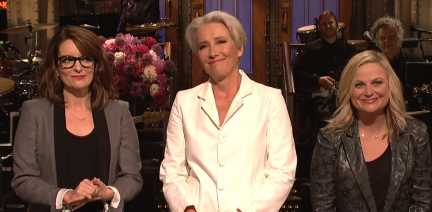 Emma Thompson is Joined by Amy Poehler & Tina Fey During 'Saturday Night Live' Monologue – Watch Now!