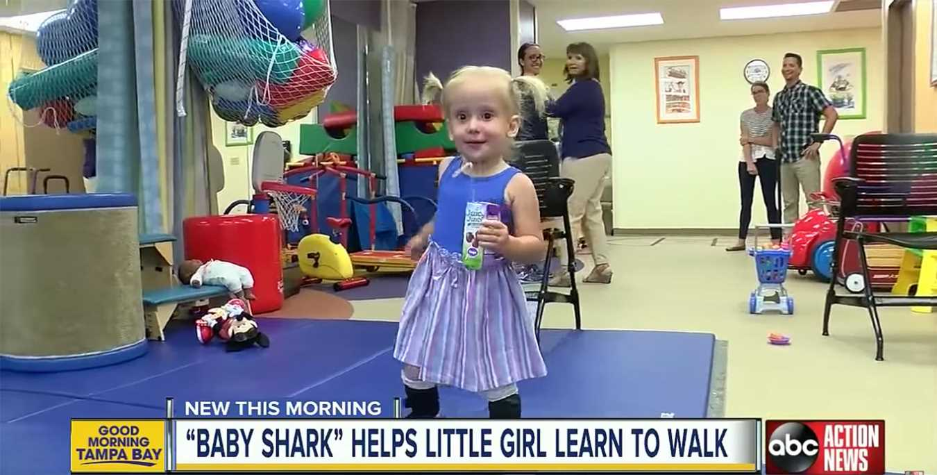 2-Year-Old Girl with Spina Bifida Learns to Walk by Moving to the Beat of 'Baby Shark'