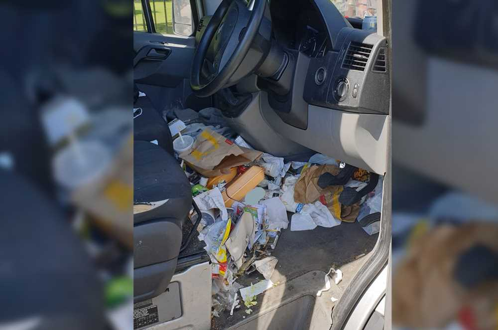 Driver fined for 'dangerous' amount of fast-food trash in his car