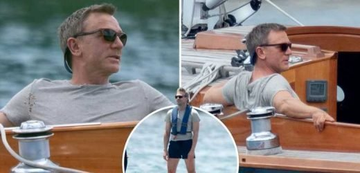 Daniel Craig relaxes on a yacht as he films the latest Bond film off the coast of Jamaica as his 007 double gets to work