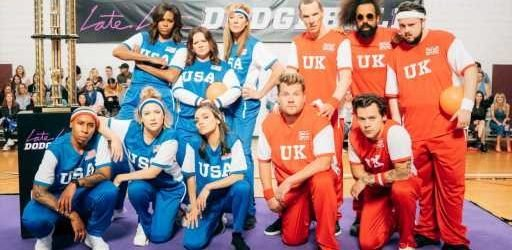 Michelle Obama Joins James Corden In London For 'The Late Late Show' Dodgeball Game