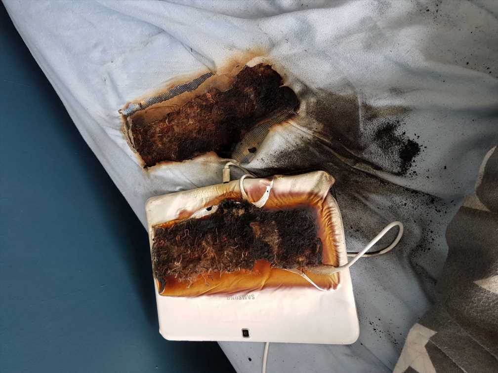 Tablet burnt through boy's mattress down to metal springs while he slept
