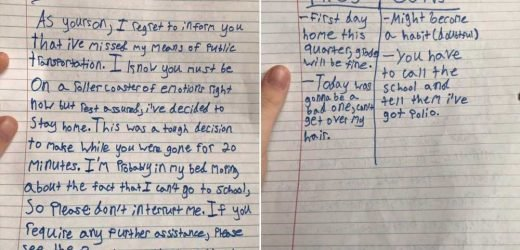 Boy's letter to mom about missing school bus goes viral