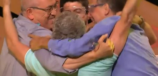 Watch incredible moment four friends win £3.7million jackpot on TV