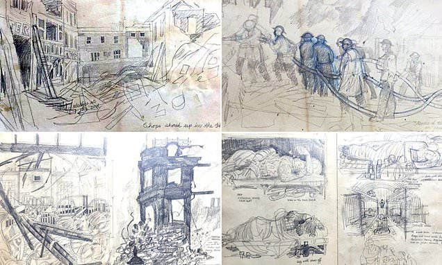 Sketches of London devastated by the Blitz sell at auction for £3,000