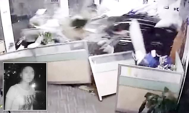 Woman slams car into office after pressing the accelerator by mistake