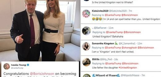 Ivanka Trump ribbed over awkward spelling fail on her tweet to Boris