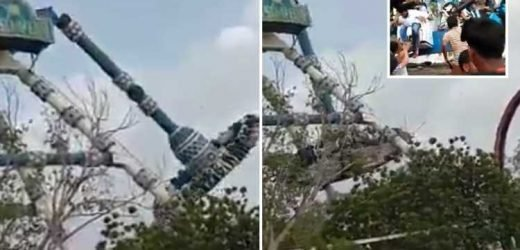 Two killed and dozens injured after pendulum ride SNAPS IN HALF at Indian amusement park