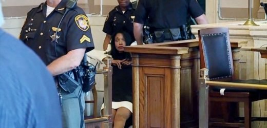 Former judge dragged out of courtroom after being sentenced