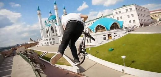 Russian BMX biker takes on a daring course through a historic citadel