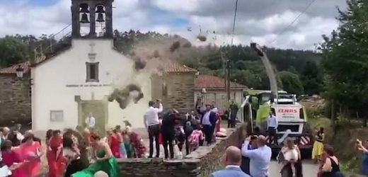Hilarious moment newlyweds are blasted with corn from a harvester