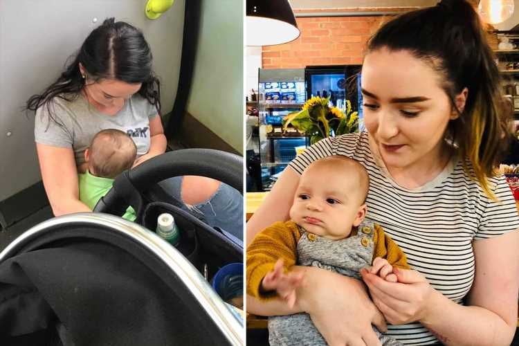 Furious mum forced to breastfeed baby on filthy train floor as 'FIFTY selfish commuters' refuse to give up seat