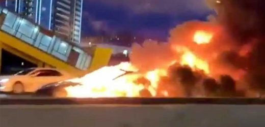 Tesla car EXPLODES after 'autopilot failure' saw driver slam into truck in Russia – The Sun