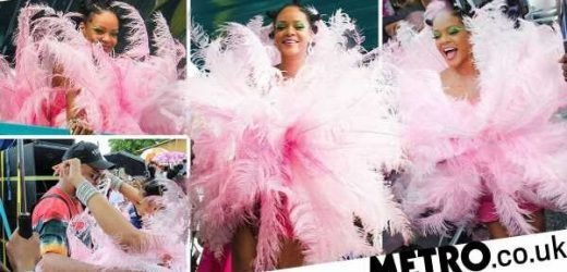 Rihanna's amazing 2019 Crop Over outfit is pink, feathered and fabulous
