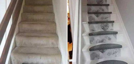 DIY mum reveals how she transformed her stairs for just £35 with carpet tiles, wallpaper and paint – The Sun