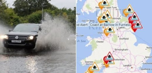 UK weather forecast – Flood warnings as torrential rain is set to batter Britain today – The Sun