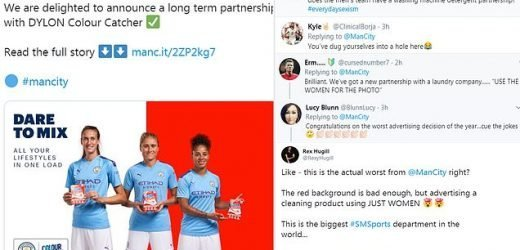 Fans' fury at Manchester City's women's squad's 'sexist' sponsorship