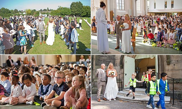 School caretaker gets married on school grounds in front of 450 pupils