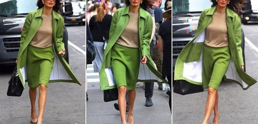 Amal Clooney steps out in New York in a $3,700 Burberry outfit